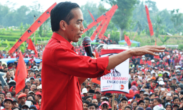Jakarta Governor Joko Widodo delivers a speech in Malang on March 30, 2014.