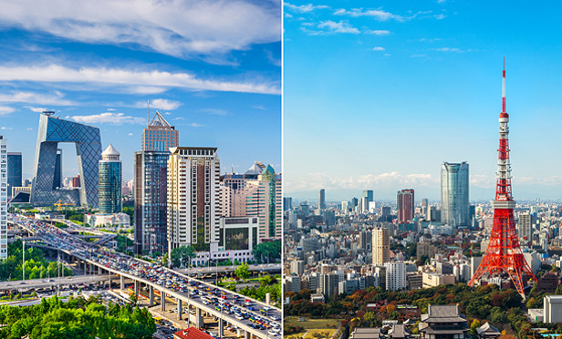 L-R Beijing China Skyline and Tokyo Japan Skyline.