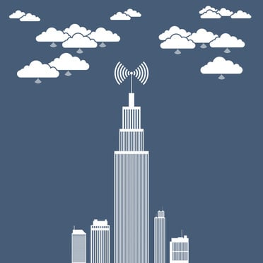 Vector illustration of an office tower building using several cloud network for its businesses.