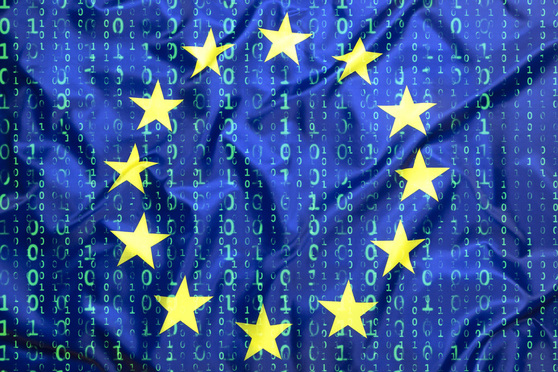 Data protection, binary code with European Union flag
