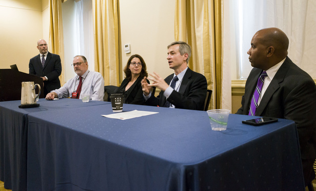 "(l-r) Bruce S. Markowitz, vice president of eDiscovery for Evolver Legal Services, Paul A. Meyer, managing counsel of Towers Watson & Co., Antigone Peyton, founder and CEO of Cloudigy Law, Robert D. Keeling, of Sidley Austin, and Oral Pottinger, of Mayer Brown, during a panel discussion titled ""Faster, Bigger, Better e-Discovery: Leveraging Technology to Its Fullest,"" part of the Masters Conference for Legal Professionals, held at the Capital Hilton in Washington, D.C., Oct. 19, 2016."