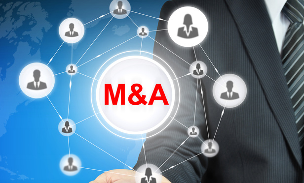 M&A (Merger & acquisition) sign with people icon linked as network on businessman hand