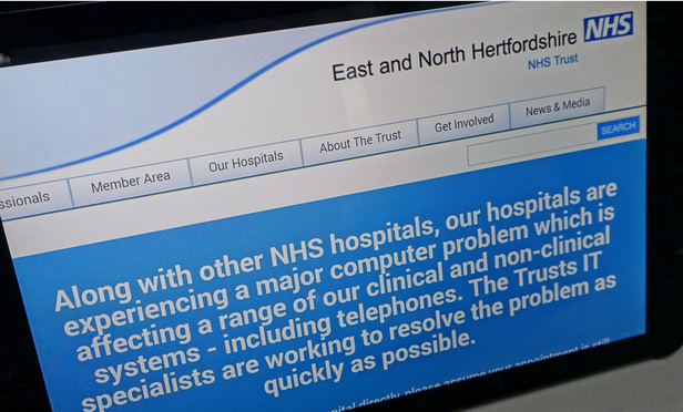 NHS website affected by international computer cyber attack Ransomware cyber attack, London May 13 2017 (Rex Features via AP Images)