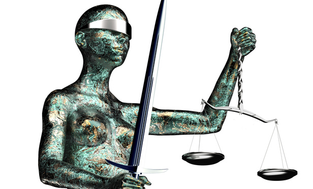 legal computer judge concept, lady justice isolated on white, 3D illustration.