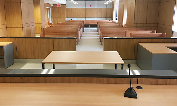 A courtroom in the newly-opened Summons Court in Lower Manhattan