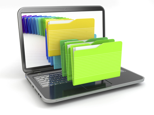 Laptop and computer files in folders on white isolated background. 3d