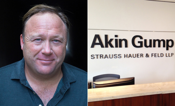 Alex Jones and Akin Gump sign