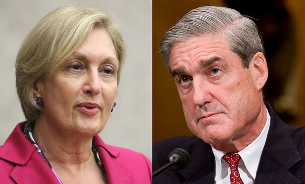 Jamie Gorelick, left, and Robert Mueller, right.
