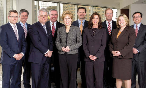 NJ Law Journal, Litigation Dept. of the Year 2014, Front row, from left to right: Zane Riester, John Garde, Barbara Gotthelf, Debra Perry, Natalie Watson. Back row, from left to right: Kenneth Meyer, Edward Fanning, Matthew Tharney, David Kott, David Cooner.