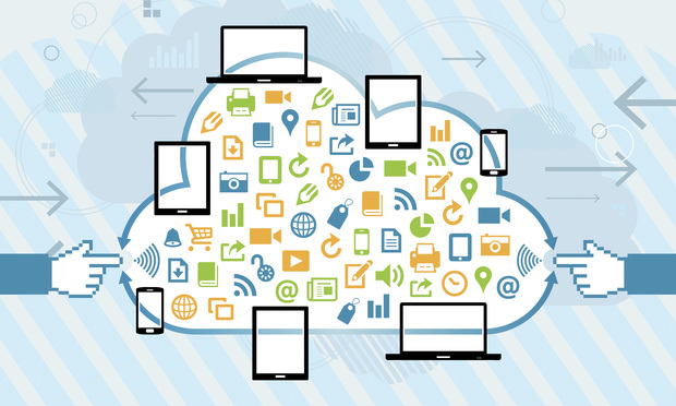 Vector illustration of mobile cloud connection technology concept.