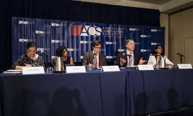 From left: Lauren Guth Barnes of Hagens Berman Sobol Shapiro; Suja Thomas, professor at University of Illinois College of Law; F. Paul Bland Jr., executive director, Public Justice; Eric Mogilnicki of Covington & Burling; and Kalpana Kotagal of Cohen Milstein Sellers & Toll discuss the future of class actions and arbitration at the American Constitution Society annual convention on June 10, 2016.