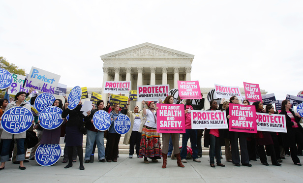 Rally outside the Supreme Court protesting the court's decision to uphold the federal ban on partial birth abortions. April 18, 2007.