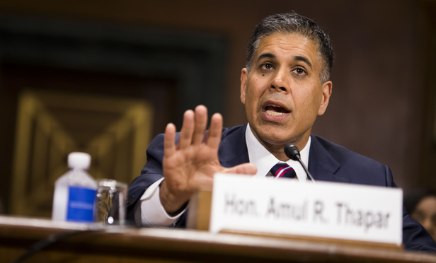 Judge Amul Thapar testifies before the Senate Judiciary Committee during his confirmation hearing to be U.S. Circuit Judge for the Sixth Circuit, on April 26, 2017.
