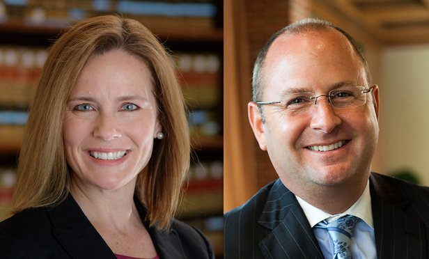Amy Coney Barrett, left, and Scott Palk, right.