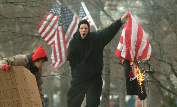 Protesters during the 2005 presidential inauguration of George W. Bush.