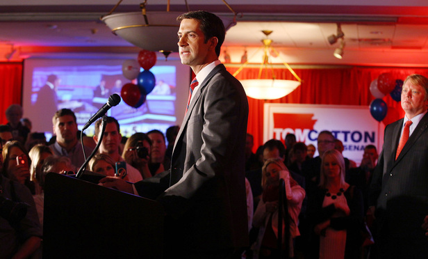 Republican Tom Cotton speaks after the results of the midterm elections in North Little Rock, Arkansas, November 4, 2014.