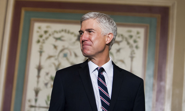 President Donald Trump's Supreme Court Nominee Judge Neil Gorsuch of the U.S. Court of Appeals for the Tenth Circuit, addressing media during a meeting with Senator Chuck Grassley (R-IA), on February 1, 2017.