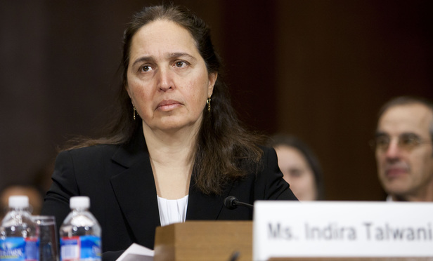 Indira Talwani, during her confirmation hearing before the Senate Judiciary Committee to be United States District Judge for the District of Massachusetts. January 8, 2013.