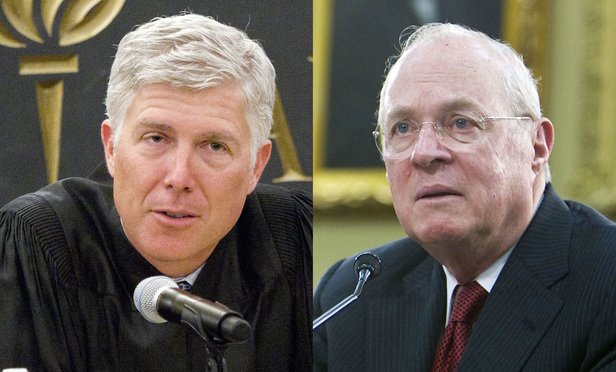Neil Gorsuch, left, and Anthony Kennedy, right.