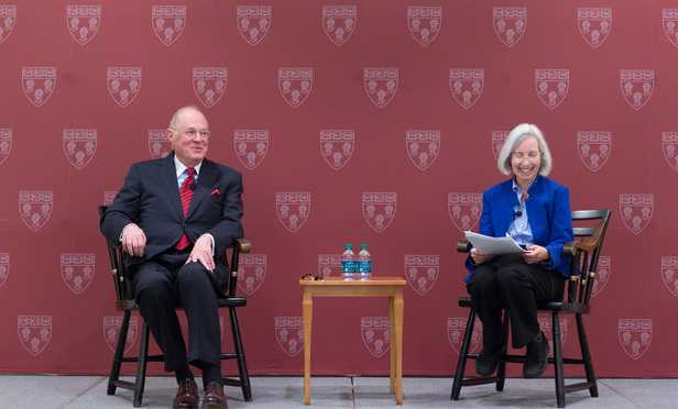 Justice Anthony Kennedy, left, during a conversation with Harvard Law Dean Martha Minow, right, on October 22, 2015.
