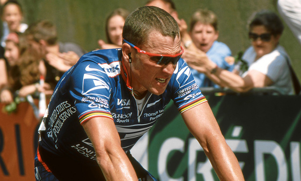 Lance Armstrong finishing 3rd in Sète, taking over the Yellow Jersey at the 2002 Grand Prix Midi Libre. May 25, 2002.