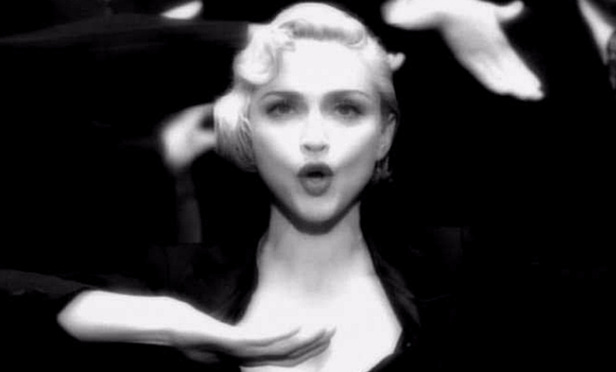 Madonna in the video for her single Vogue.