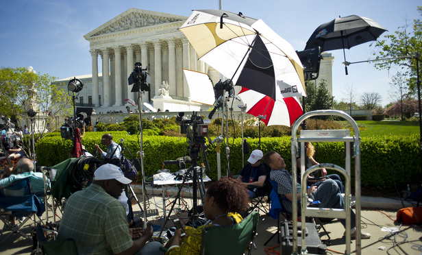 Media cameras outside the U.S. Supreme Court on the day of arguments in the immigration case United States v. Texas. April 18, 2016.