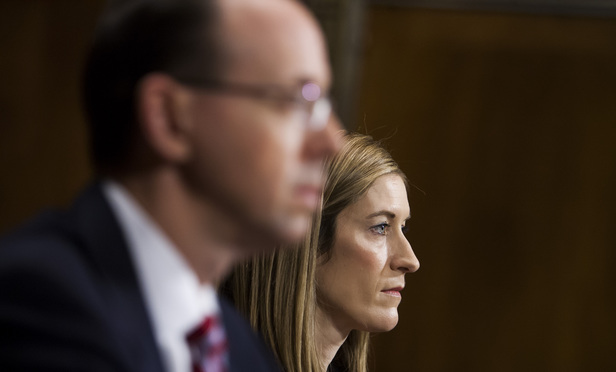 Rachel Brand, testifies before the Senate Judiciary Committee during her confirmation hearing to be Associate Attorney General at the U.S. Department of Justice. Sitting next to her is Rod Rosenstein. March 7, 2017.