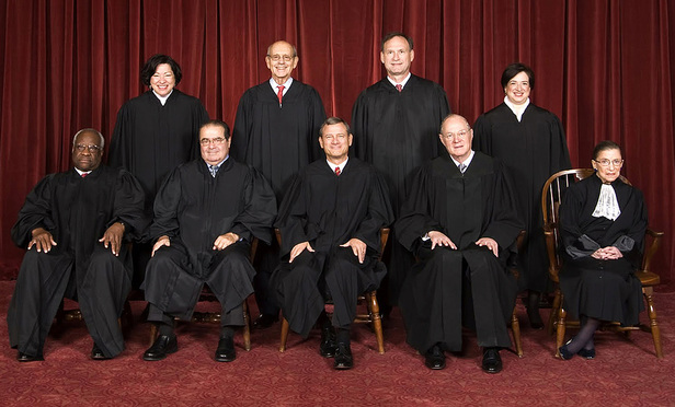 United States Supreme Court justices. Top row (left to right): Sonia Sotomayor, Stephen Breyer, Samuel Alito, and Elena Kagan. Bottom row (left to right): Clarence Thomas, Antonin Scalia, John Roberts, Anthony Kennedy, and Ruth Bader Ginsburg.