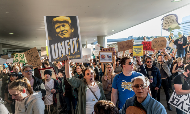Thousands of protestors decended on SFO in response to President Trumps executive order denying refugees and foreign citizens from predominantly Muslim countries entry into the U.S