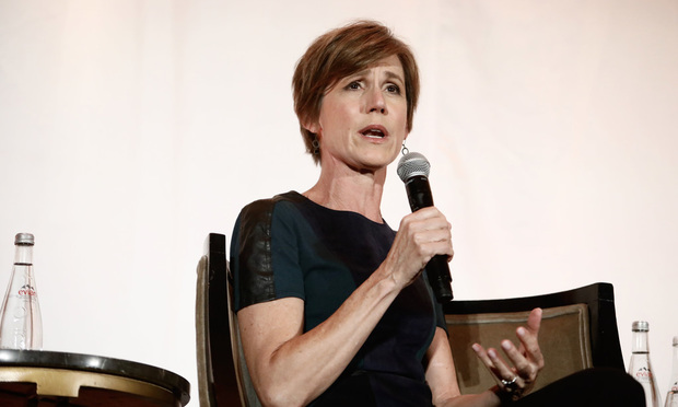 Sally Yates, former Deputy Attorney General at the U.S. Department of Justice, speaking during the 2017 ChIPs Women in Tech, Law, & Policy Global Summit, held at the Mandarin Oriental hotel in Washington, D.C., on October 19, 2017.
