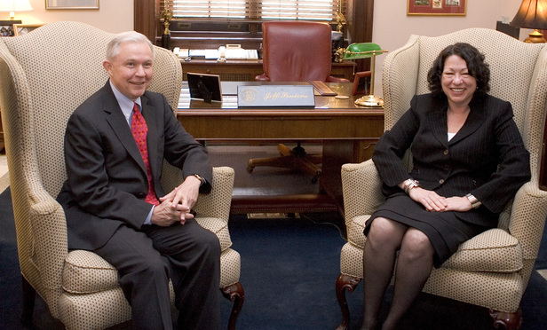 Then-Supreme Court nominee Sonia Sotomayor meets with Senator Jeff Sessions, R-Alabama, on June 2, 2009.