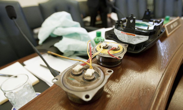 Takata airbag components presented before a U.S. Senate Committee on Commerce, Science, and Transportation at a hearing on Nov. 20, 2014.