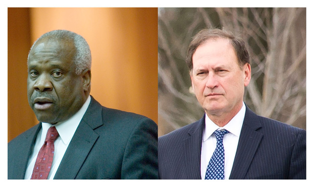 Clarence Thomas, left, and Samuel Alito, right.