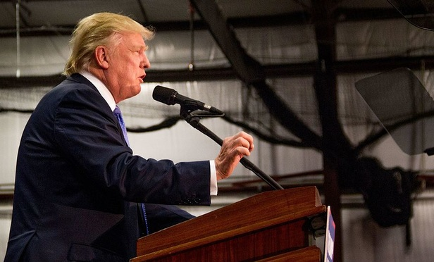 Donald Trump at a campaign rally in 2016.