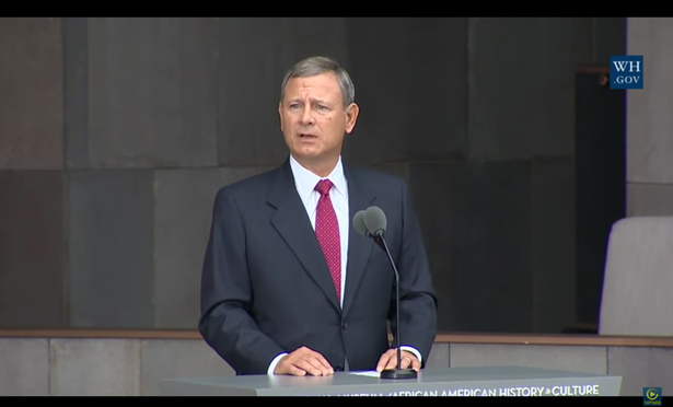 Justice John Roberts speak at the opening ceremony for the Smithsonian's new African American history museum (youtube)