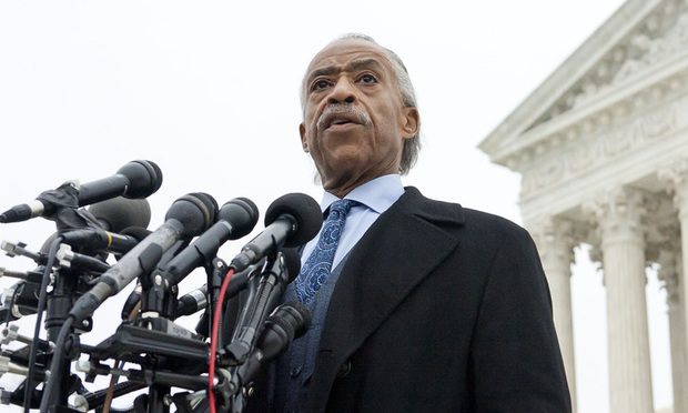 Al Sharpton addressing media outside the U.S. Supreme Court after arguments in the case Fisher v. University of Texas at Austin, on December 9, 2015. Photo by Diego M. Radzinschi/THE NATIONAL LAW JOURNAL.