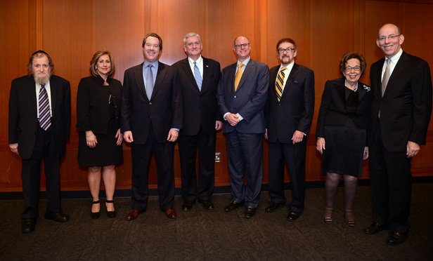 The Institute of Jewish Humanities held its Thirty Sixth Annual Testimonial Dinner on Wednesday December 15, 2015 at the Museum of Jewish Heritage.Awardees were, from second from left: Susan Hernandez-NAMS-Mediator of the Year Award; Jeffrey Lichtman-solo attorney-Criminal Lawyer of the Year Award; Thomas Maroney-partner at Maroney & O'Connor-Defense Lawyer of the Year Award; Marc Mauser-Managing attorney at William Schwitzer and Associates-Lawyer of Integrity Award: Martin Minkowitz-of counsel at Stroock, Stroock and Lavan-Lifetime Achievements Award; Sybil Shainwald-solo attorney-Guardian of Women's Health Award.Also present were: Left: Rabbi Pinchus Wechter-Dean of the Institute, right: Mitchell Sassower-Dinner chair and a partner at Arye, Lustig & Sassower