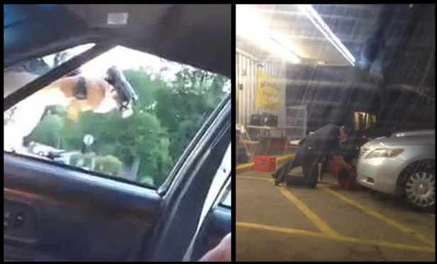Cell phone video screen shots of the police shootings of Philando Castile and Alton Sterling.