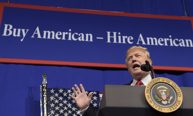 President Donald Trump speaks at tool manufacturer Snap-on Inc. in Kenosha, Wis., on April 18.
