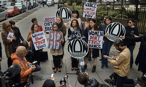 Activists with the New York City chapter of the National Organization of Women protest outside the office of Manhattan DA Cyrus Vance, Jr. on October 13. Vance has been the focus of criticism for not bringing sexual abuse charges against Hollywood producer Harvey Weinstein in 2015.