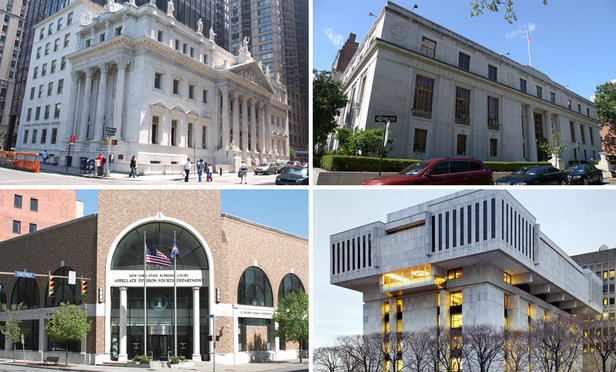 The courthouses of the four divisions of New York's Appellate Division