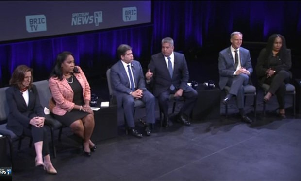 The candidates for Brooklyn District Attorney, from left: Anne Swerne, Ama Dwimoh, Vincent Gentile, Eric Gonzalez, Marc Fliedner and Patricia Gatling