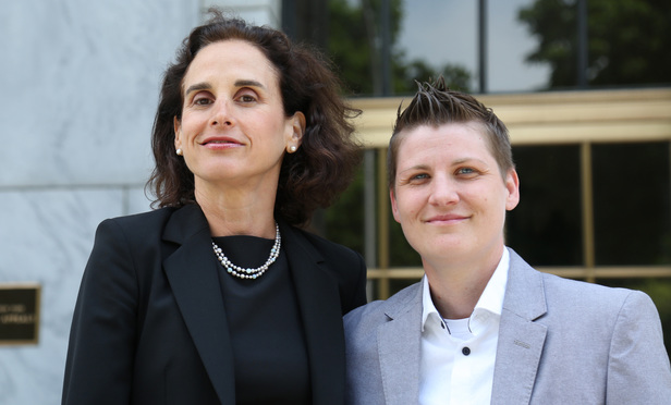 Susan Sommer of Lambda Legal, left, with her client Brooke B. at the New York State Court of Appeals on June 2