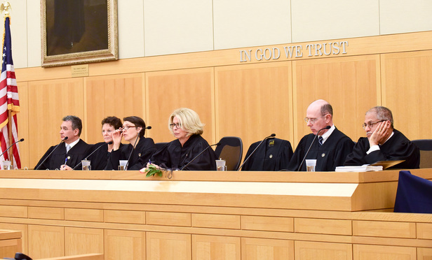 Judges of the New York Court of Appeals listen to arguments in White Plains in April, with the date each was confirmed by the Senate, from left: Judges Michael Garcia (Feb. 8, 2016), Leslie Stein (Feb. 9, 2015), Jenny Rivera (Feb. 11, 2013), Chief Judge Janet DiFiore (Jan. 21, 2016), Eugene Fahey (Feb. 9, 2015) and Rohan Wilson (Feb. 6, 2017).