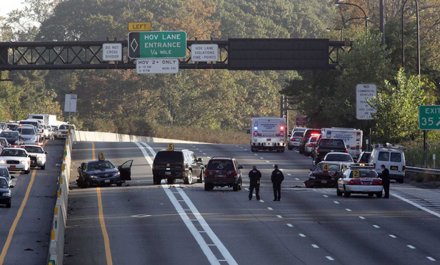 The scene of a collision that killed a Nassau County police officer in 2012