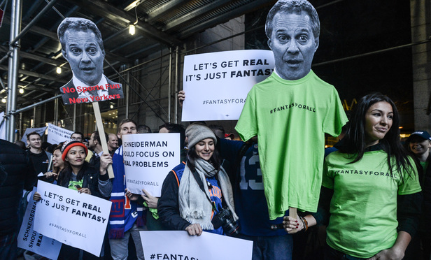 The Fantasy Sports For All coalition holds a rally outside of Attorney General Schneiderman's office in Lower Manhattan on Friday.