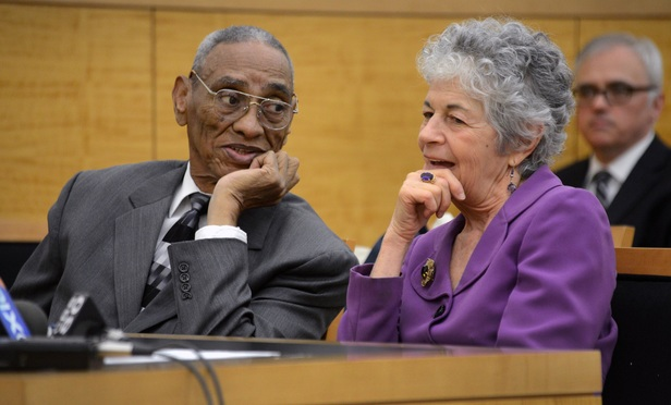 Paul Gatling and his attorney Malvina Nathanson appear in a Brooklyn courtroom on Monday.