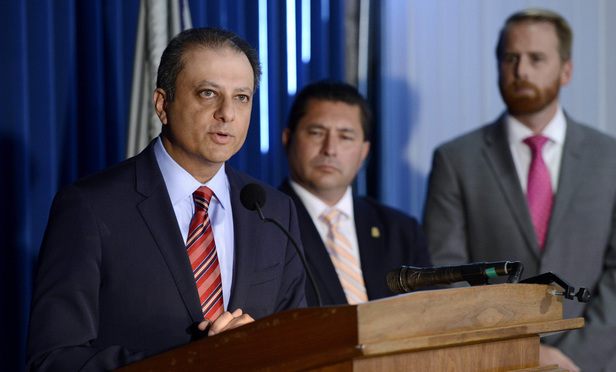 Southern District U.S. Attorney Preet Bharara announces a settlement with GM at a news conference in Manhattan Thursday. With Bharara are Diego Rodriguez, an assistant director in the FBI's New York office, and Blair Anderson, deputy administrator in the National Highway Traffic Safety Administration.