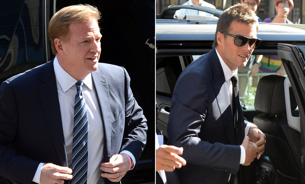 NFL Commissioner Roger Goodell, left, and New England Patriots quarterback Tom Brady enter Southern District court in August.